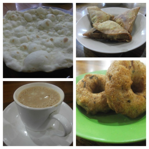 Clockwise - Samosa, Ba Yar Kyaw, Tea with Malaing, Nan Pyar
