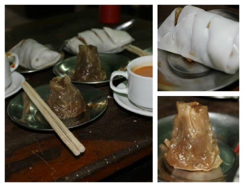 Wet Thar Paung (Steamed Pork) and Kaw Pyant (Meat Spring Roll). I did have another cup of tea there, too.