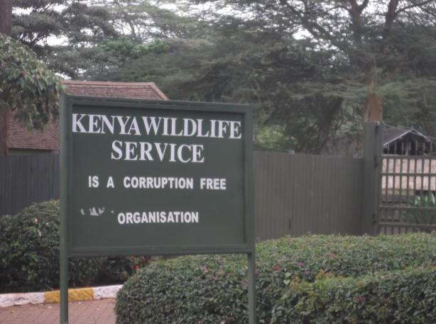 Corruption Free Disclaimer at Nairobi National Park.