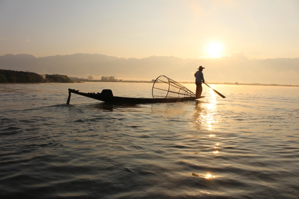 Fisherman at Inle Lake sunset