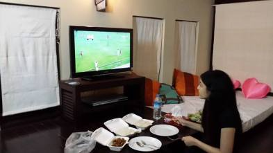 Supporting Myanmar Vs Thai football match of SEAGames 2014. Fried calm is in the box!